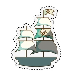 pirate ship isolated icon vector image