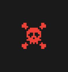 pixel skull and crossbones icon vector image