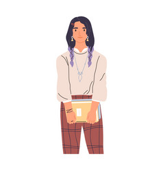 portrait modern college student with books vector image