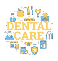 Round linear concept of dental care vector