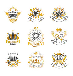 royal symbols flowers floral and crowns emblems vector image