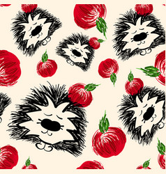 seamless pattern hedgehog with red apple vector image