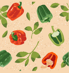 Seamless pattern with green and red peppers vector