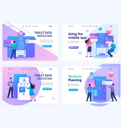 Set 2d flat concepts young people use apps vector
