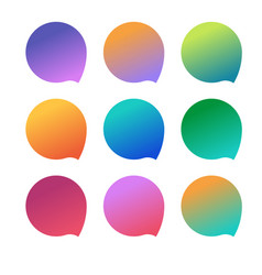 set empty colorful gradient badges vector image