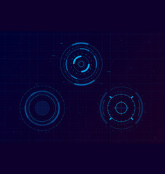set hud circle targets sci-fi round head-up vector image