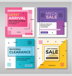 Set modern promotion square banners vol4 vector