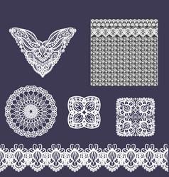 Set of decorative lace elements vector