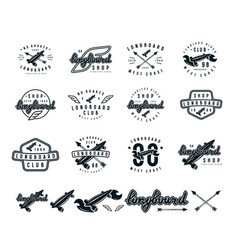 Set of longboard emblems vector