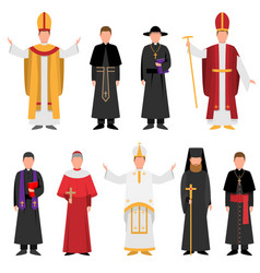 Set priest catholic or christian religion in vector