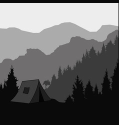 silhouette of the mountain the tent for trekking vector image