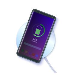 Smart phone on wireless charging device isolated vector