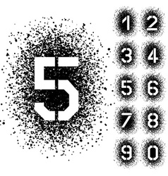 Spray stencil angular font numbers vector