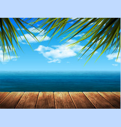Summer landscape sea beach and wooden pier 3d vector