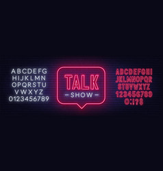 talk show neon sign on brick wall background vector image