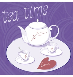 teapot and two cups vector image