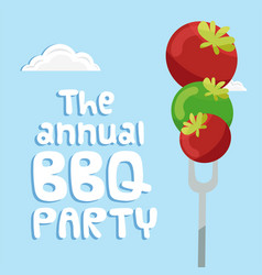The annual bbq party tomato on fork background vec vector