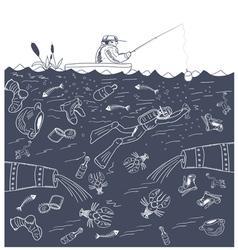 urban fishing vector image