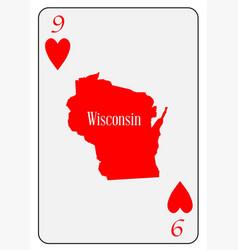Usa playing card 9 hearts vector