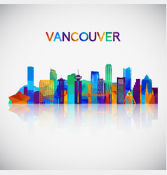 vancouver skyline silhouette vector image