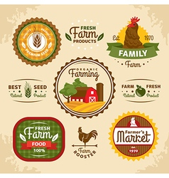 Vintage farm labels vector