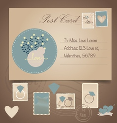 Vintage postcard background and Postage Stamps - vector image vector image
