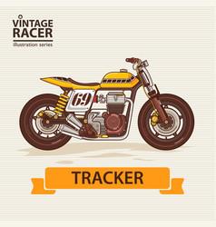 Vintage racing motorcycle vector