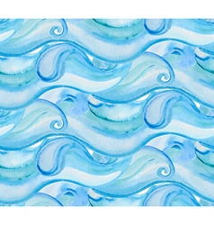 watercolor background with blue sea waves Seamless vector image