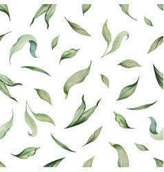 watercolor seamless pattern green leaves vector image