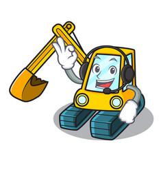 with headphone excavator mascot cartoon style vector image
