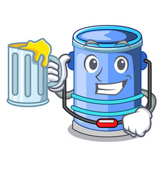 With juice cylinder bucket with handle on cartoon vector