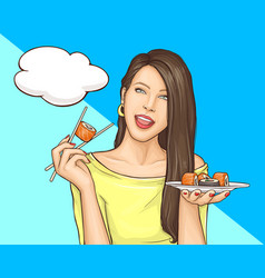 Woman eating sushi rolls pop art vector