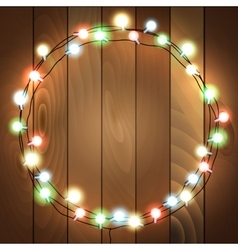 wooden background with lights vector image