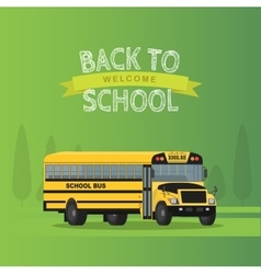 yellow school bus isolated on green vector image