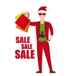 Young Man In Santa Costume with shopping bags in vector