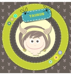 Zodiac signs collection Cute horoscope - TAURUS vector image