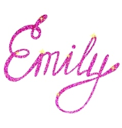Emily name lettering tinsels vector image vector image