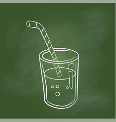 hand drawing glass of juice on green board - vector image vector image