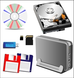 set of storage devices vector image vector image
