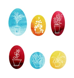 Set of water color houseplants icons vector image vector image