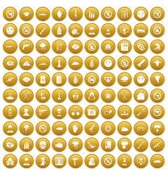 100 tension icons set gold vector image vector image