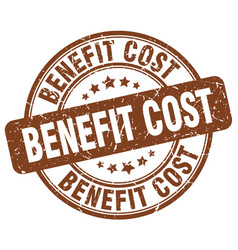benefit cost brown grunge stamp vector image vector image