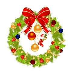christmas wreath for winter holydays designs vector image
