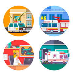 emergency call icons set flat vector image vector image