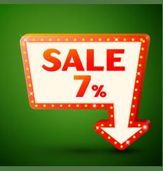 Retro billboard with sale 7 percent discounts vector