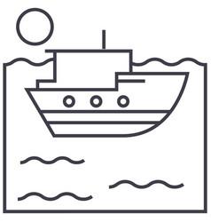 sea ship line icon sign on vector image