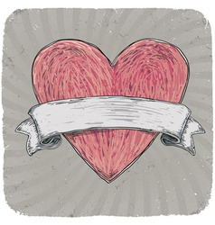 vintage heart ribbon vector image vector image