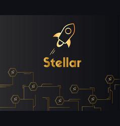 blockchain stellar style on dark background vector image