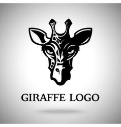 dark giraffe head template for logo badge vector image