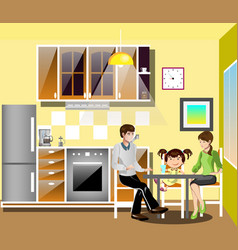 family at table in kitchen vector image